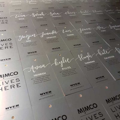 Myer - Fashion launch - Calligraphy on place cards