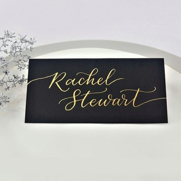 Place Cards - Gold Ink on Black Tent Cardstock