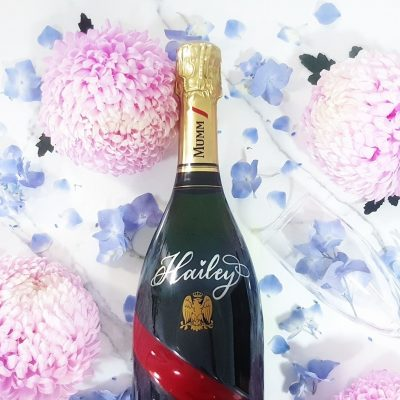 G.H. Mumm Champagne Bottle - Hand painted calligraphy personalisation in metallic ink