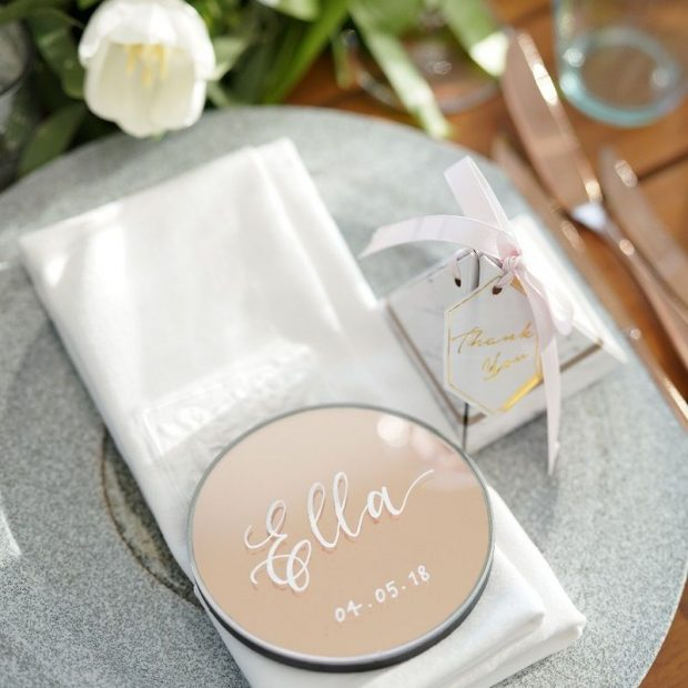 Bespoke Stationery - Mirrored Coaster Place Cards
