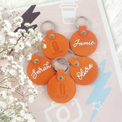 Clinique - Activation Event - Personalised leatherette keyrings