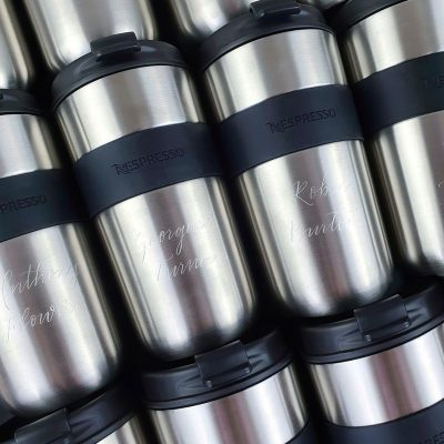 Engraving on Stainless Steel Nespresso Vertuo Travel Mugs