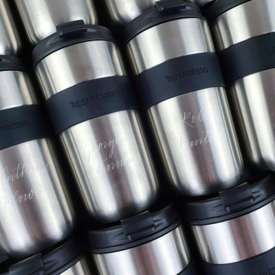 Nespresso Vertuo Travel Mugs - Calligraphy engraving on stainless steel mugs