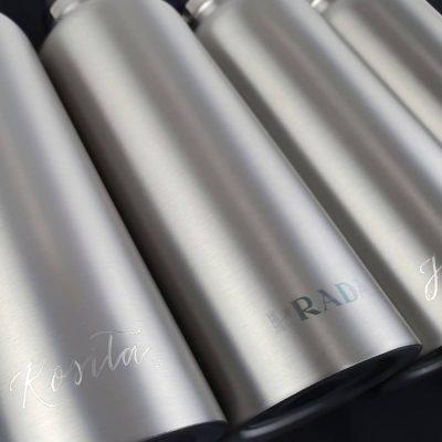 Prada Stainless Steel Water Bottles - Personalised calligraphy engraving
