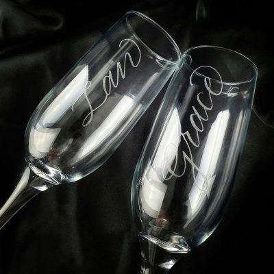 Engraving on Champagne Flutes
