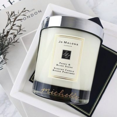 Jo Malone London Candle - Glass engraving calligraphy personalisation filled in gold ink