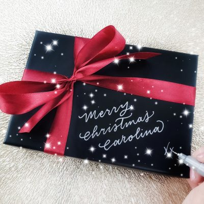 Personalised Christmas Gift Boxes - Hand painted calligraphy in metallic silver ink