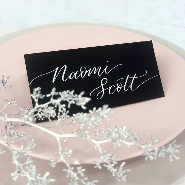 Place Cards - White Ink on Black Tent Cardstock