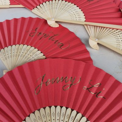 Creative Projects - Calligraphy on Red Paper Fans for Mirvac's Chinese New Year Event
