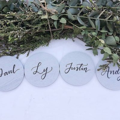 Personalised Wooden Coasters - Hand painted calligraphy in black ink