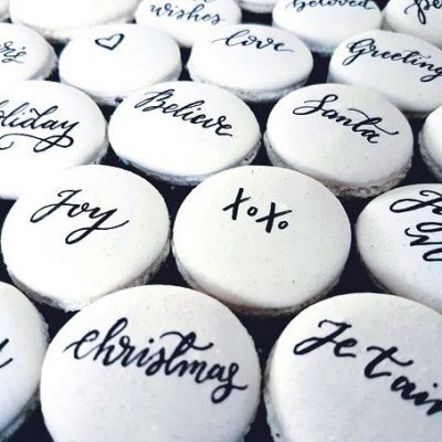 Personalised Macarons - Hand painted using edible black ink for a private Christmas event