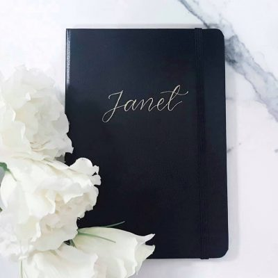 Black Leather Notebook - Personalised in gold foil using a portable monogram heat tool