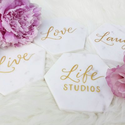 Creative Projects - Calligraphy on Marble Coasters