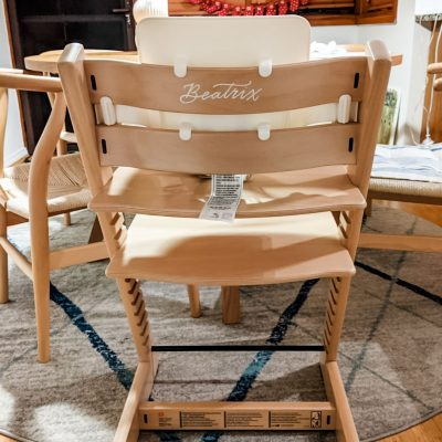 Stokke Wooden High Chair - Hand painted personalised calligraphy in white ink